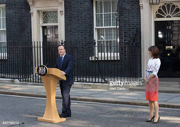 British Prime Minister David Cameron resigns on the steps of 10 Downing Street as his wife Samantha Cameron listens on June 24 2016 in London England...