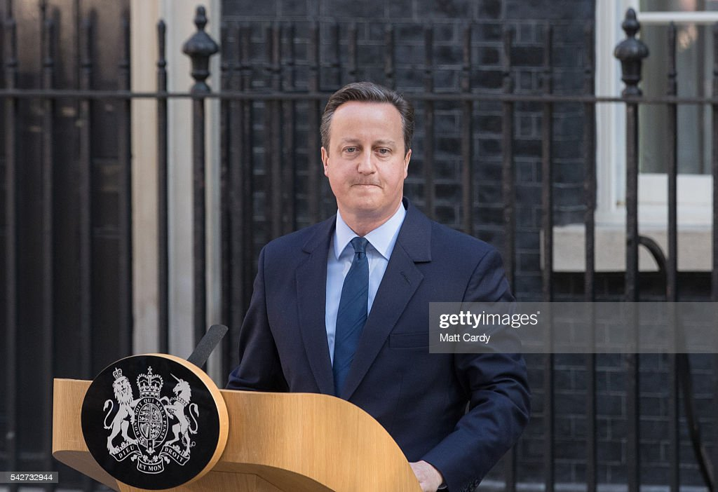 British Prime Minister David Cameron resigns on the steps of 10 Downing Street on June 24, 2016 in London, England. The results from the historic EU referendum has now been declared and the United Kingdom has voted to LEAVE the European Union.