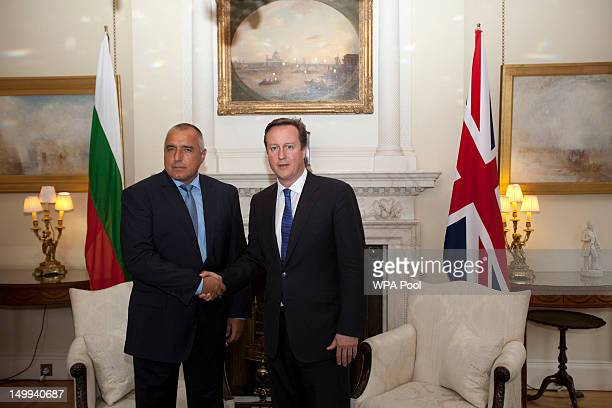 British Prime Minister David Cameron shakes hands with Bulgarian Prime Minister Boyko Borisov inside number 10 Downing street on August 07 2012 in...
