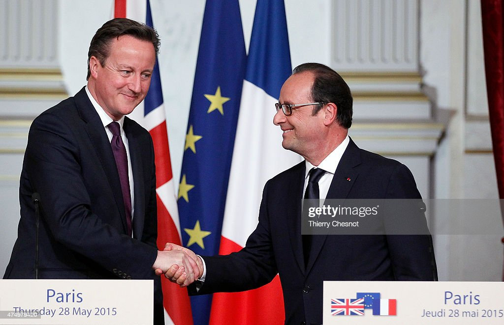 British Prime Minister David Cameron shakes hands with French President Francois Hollande after a press conference at the Elysee Palace on May 28, 2015 in Paris, France. David Cameron met Francois Hollande to discuss the situation concerning the United Kingdom in the European Union.