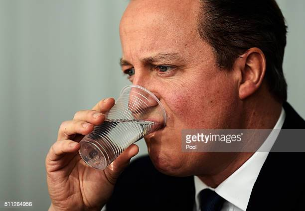 British Prime Minister David Cameron sips some water at a meeting with Italian Prime Minister Matteo Renzi during the second day of the EU Summit as...