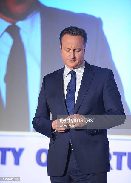 British Prime Minister David Cameron speaking during the Conservative Party Spring Forum on April 9 2014 in London United Kingdom During the forum...
