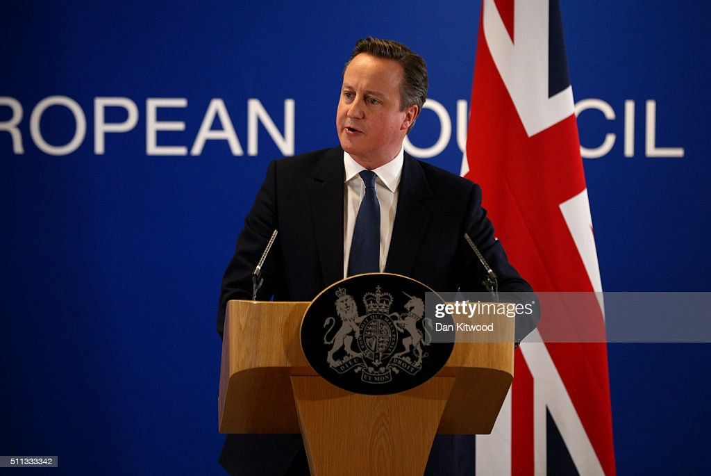 British Prime Minister David Cameron speaks at a news conference after negotiating new EU membership terms for the UK, on February 19, 2016 in Brussels, Belgium. Reports suggest there is unanimous support for a deal between the UK and the EU . A referendum on whether Great Britain will stay in or leave the European Union is to be held before the end of 2017, though many expect it to take place in June this year.