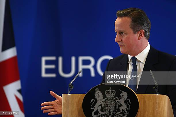 British Prime Minister David Cameron speaks at a news conference after negotiating new EU membership terms for the UK on February 19 2016 in Brussels...
