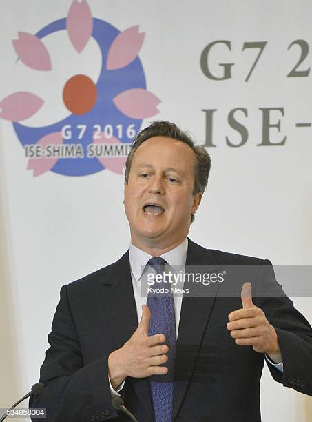 British Prime Minister David Cameron speaks at a press conference in Shima Mie Prefecture on May 27 after attending a twoday Group of Seven summit