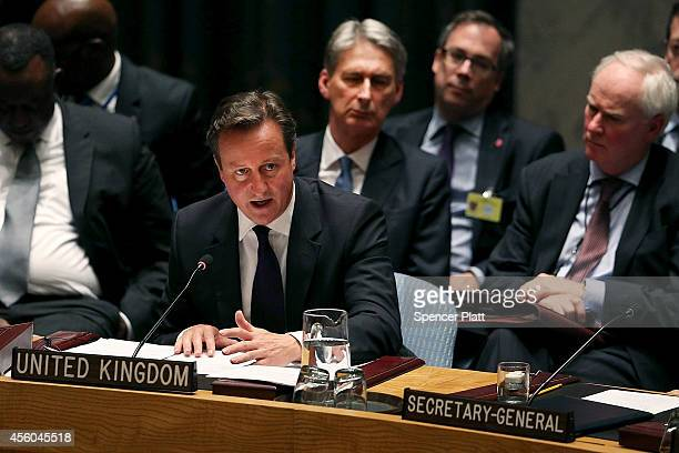 British Prime Minister David Cameron speaks at a Security Council meeting on global terrorism during the United Nations General Assembly on September...