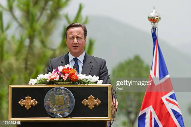 British Prime Minister David Cameron speaks during a press conference held with Pakistani Prime Minister Nawaz Sharif at the Prime Minister's house...