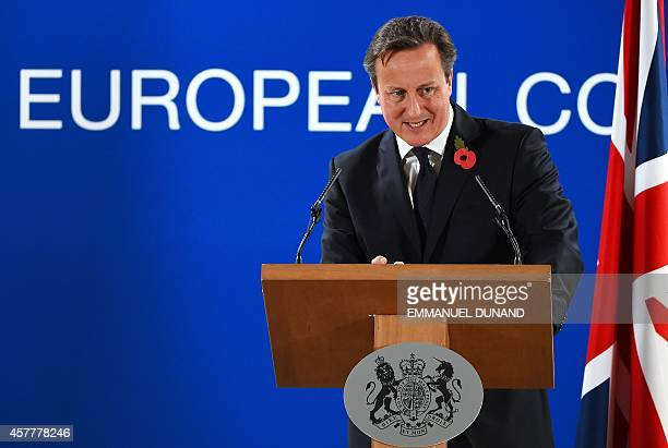 British Prime Minister David Cameron speaks during a press conference at the end of a European Union Summit at the EU headquarters in Brussels on...