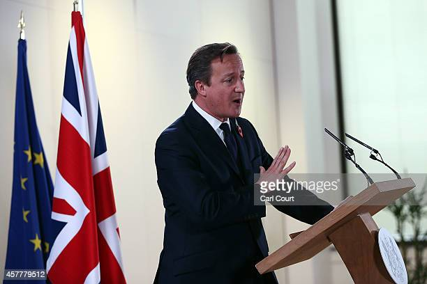 British Prime Minister David Cameron speaks during a press conference at the end of a twoday European Council meeting at the headquarters of the...