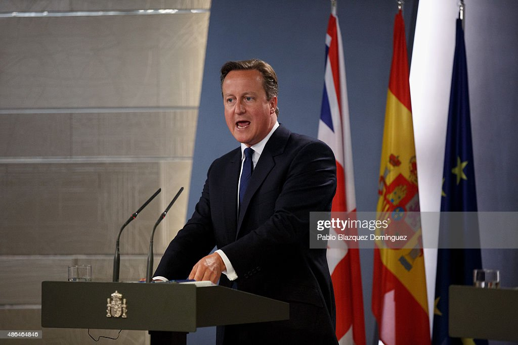 British Prime Minister David Cameron speaks during a press conference at Moncloa Palace on September 4, 2015 in Madrid, Spain. David Cameron is visiting Spain and Portugal as part of a tour to seek for support from fellow European leaders to go along with a renegotiation of Britain's EU membership. Rajoy and Cameron are also expect to talk about the refugees crisis the European Union is facing.