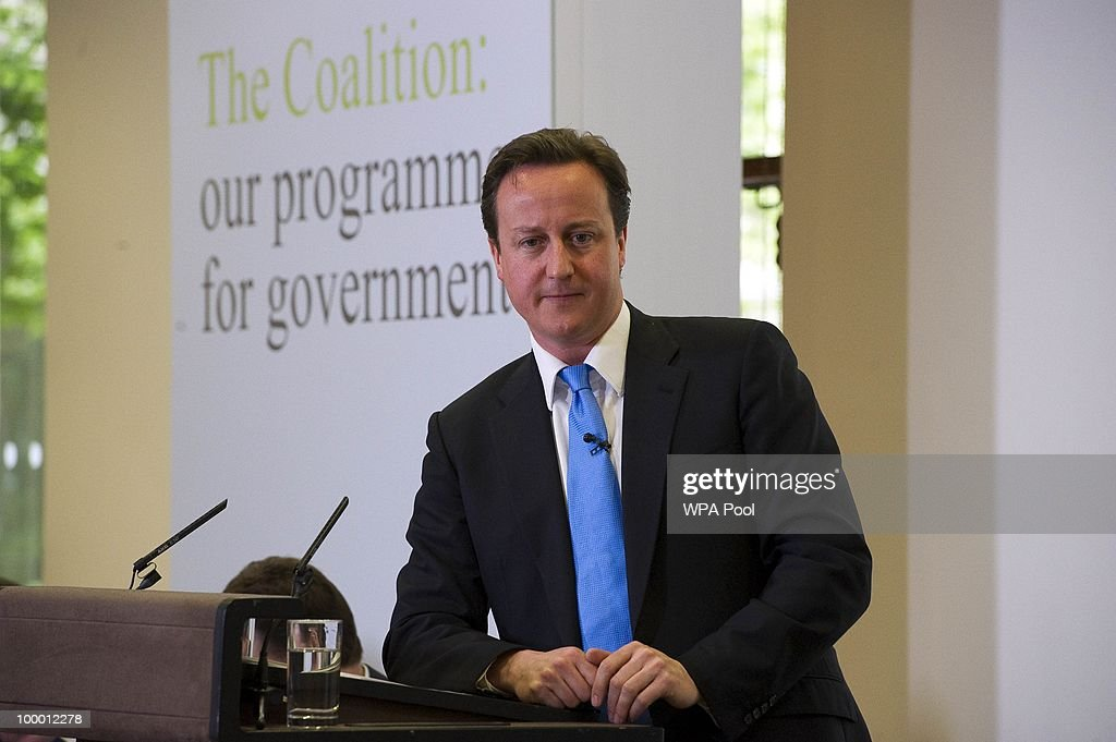 British Prime Minister David Cameron speaks during the launch of the Government Programme Coalition Agreement document in London, May 20, 2010. The event served as platform at which the new government outlined the details agreed in the formation of the new coalition including policy areas such as the introduction of a banking levy and plans to rein in bonuses in the financial services sector.