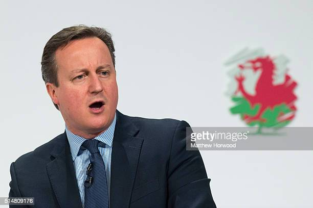 British Prime Minister David Cameron speaks during the Welsh Conservative Party Conference 2016 at the Royal Llangollen Pavilion on March 11 2016 in...