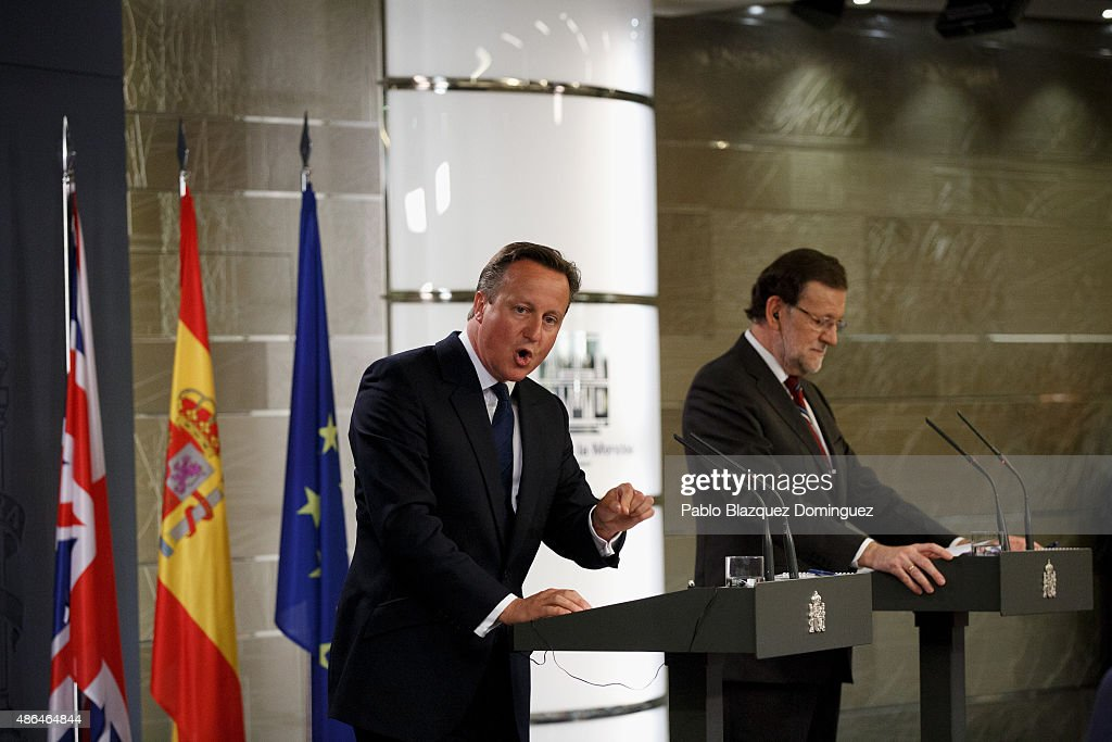 British Prime Minister David Cameron (L) speaks next to Spanish Prime Minister Mariano Rajoy (R) during a press conference at Moncloa Palace on September 4, 2015 in Madrid, Spain. David Cameron is visiting Spain and Portugal as part of a tour to seek for support from fellow European leaders to go along with a renegotiation of Britain's EU membership. Rajoy and Cameron are also expect to talk about the refugees crisis the European Union is facing.