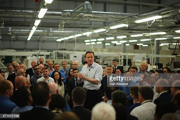 British Prime Minister David Cameron speaks to employees of Radar Manufacturer Kelvin Hughes on April 28 2015 in London England The Prime Minister...