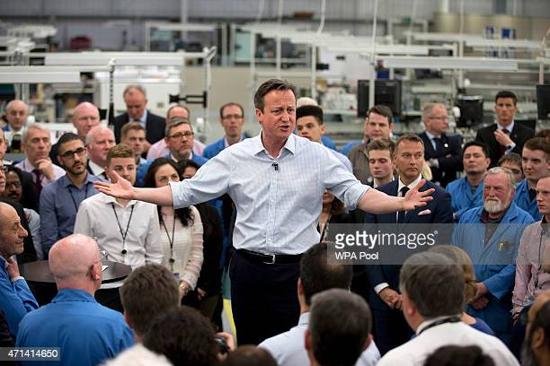 British Prime Minister David Cameron speaks to empoyees of Radar Manufacturer Kelvin Hughes on April 28 2015 in London England The Prime Minister...