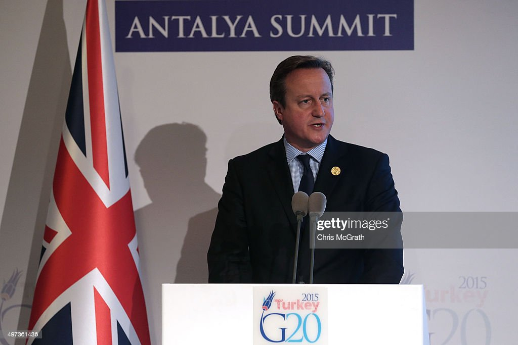 British Prime Minister David Cameron speaks to the media during a press conference on day two of the G20 Turkey Leaders Summit on November 16, 2015 in Antalya, Turkey. World leaders will use the summit to discuss issues including, climate change, the global economy, the refugee crisis and terrorism. The two day summit takes place in the wake of the massive terrorist attack in Paris which killed more than 120 people.