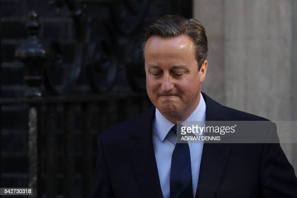 British Prime Minister David Cameron speaks to the press in front of 10 Downing street in central London on June 24 2016 Prime Minister David Cameron...