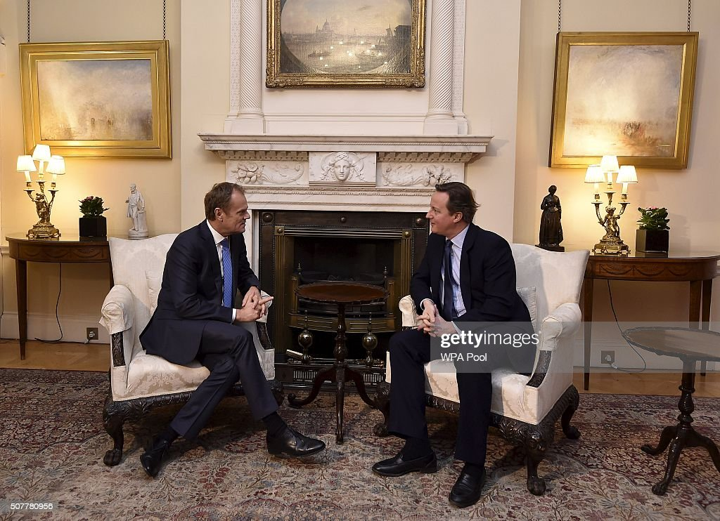 British Prime Minister David Cameron (R) speaks with European Council President Donald Tusk at Downing Street on January 31, 2016 in London, Britain.