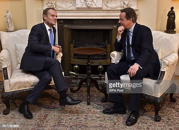 British Prime Minister David Cameron speaks with European Council President Donald Tusk at Downing Street on January 31 2016 in London Britain