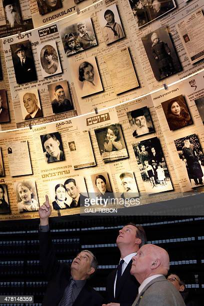 British Prime Minister David Cameron stands next to PolishBritish holocaust survivor Ben Helfgott as Yad Vashem Chairman Avner Shalev speaks at the...