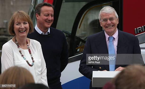 British Prime Minister David Cameron stands with Labour MP Harriet Harman as former Conservative Prime Minister Sir John Major addresses proEU 'Vote...