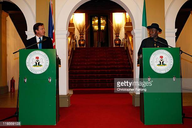 British Prime Minister David Cameron takes part in a press conference with Nigerian President Goodluck Jonathan at the State House on July 19 2011 in...