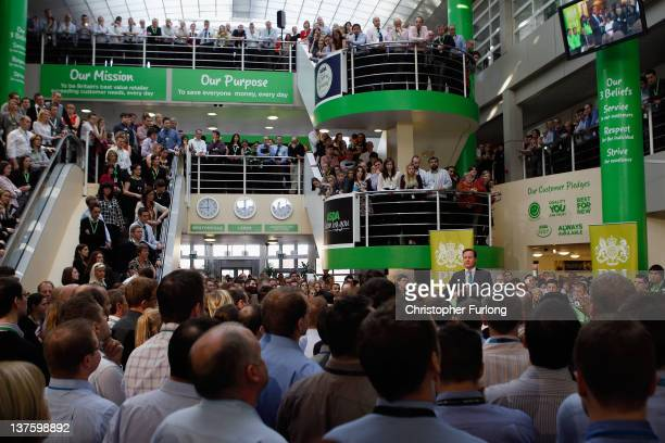 British Prime Minister David Cameron takes part in 'PM Direct' question and answer session with workers at the head office of supermarket giant Asda...