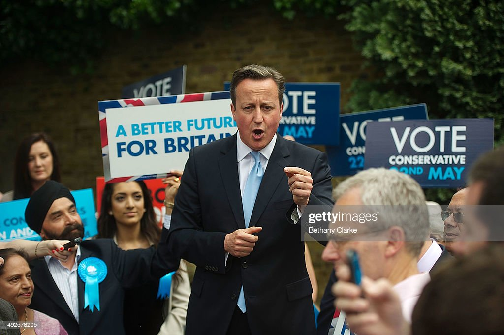 British Prime Minister David Cameron talks during a campaign rally on May 21, 2014 in Ealing, England. The rally comes in the final day of campaigning before polls open for the European Parliament election tomorrow.