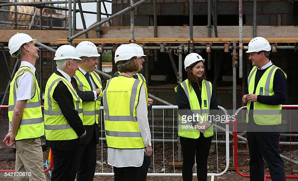 British Prime Minister David Cameron tours a Crest Nicholson residential house construction site on June 22 2016 in Swindon United Kingdom The final...