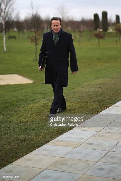 British Prime Minister David Cameron views the memorial plaques at The National Memorial Arboretum honouring 145 overseas servicemen who were awarded...