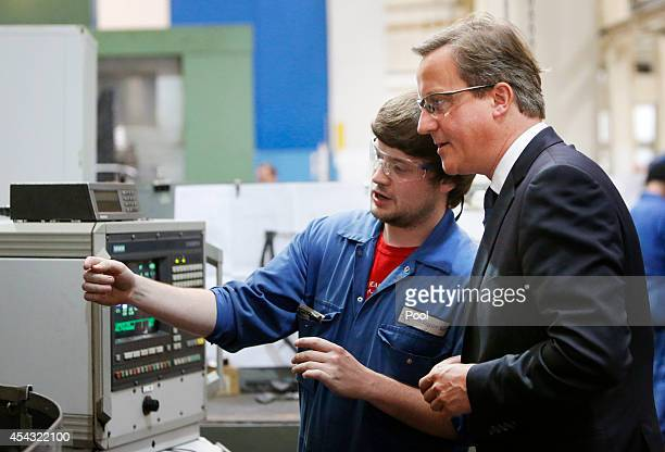 British Prime Minister David Cameron visits engineering business MacTaggart Scott as Mr Cameron and First Minister Alex Salmond hit the Scottish...