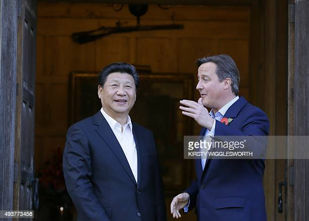 British Prime Minister David Cameron welcomes Chinese President Xi Jinping at Chequers the prime minister's official country residence near...