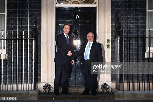 British Prime Minister David Cameron welcomes Iraqi Prime Minister Al-Abadi to Downing Street on January 22, 2015 in London, England. Senior...