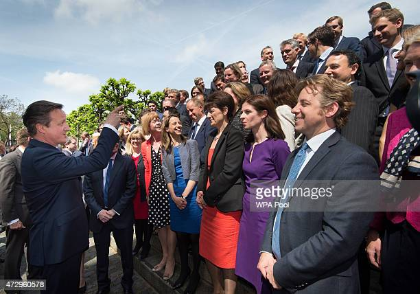 British Prime Minister David Cameron with the newly elected Conservative Party MPs in Palace Yard on May 11 2015 in London England Prime Minister...
