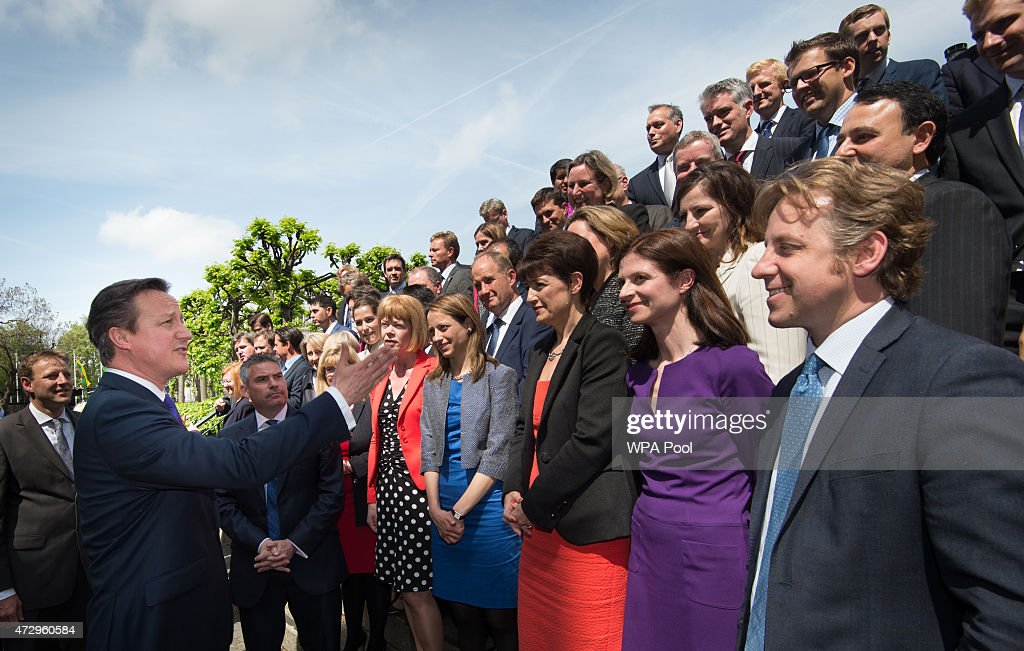 British Prime Minister David Cameron with the newly elected Conservative Party MPs in Palace Yard on May 11, 2015 in London, England. Prime Minister David Cameron continues to announce his new cabinet with many ministers keeping their old positions.