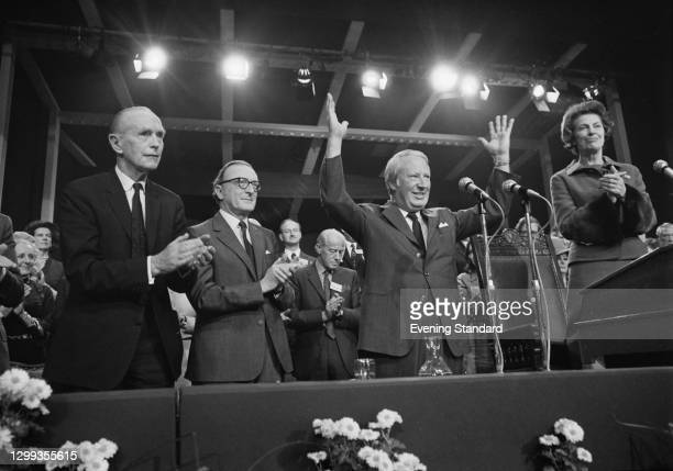 British Prime Minister Edward Heath addresses the Conservative Party Conference in Blackpool, UK, October 1972. From left to right, Alec Douglas-Home...