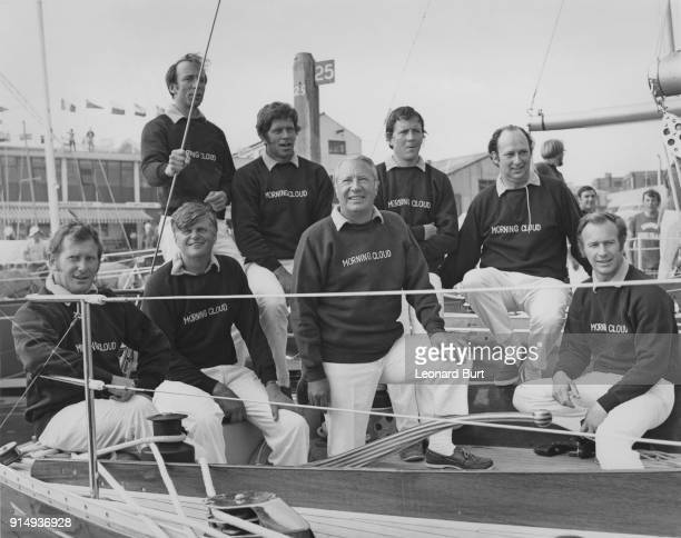 British Prime Minister Edward Heath , captain of the British team in the Admiral's Cup series, poses with his team aboard his yacht 'Morning Cloud'...