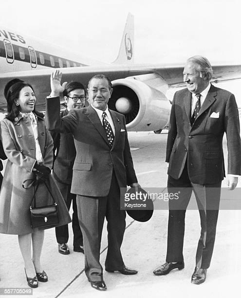 British Prime Minister Edward Heath greeting his Japanese counterpart Kakuei Tanaka, with his daughter Makiko, at Heathrow Airport, London, September...