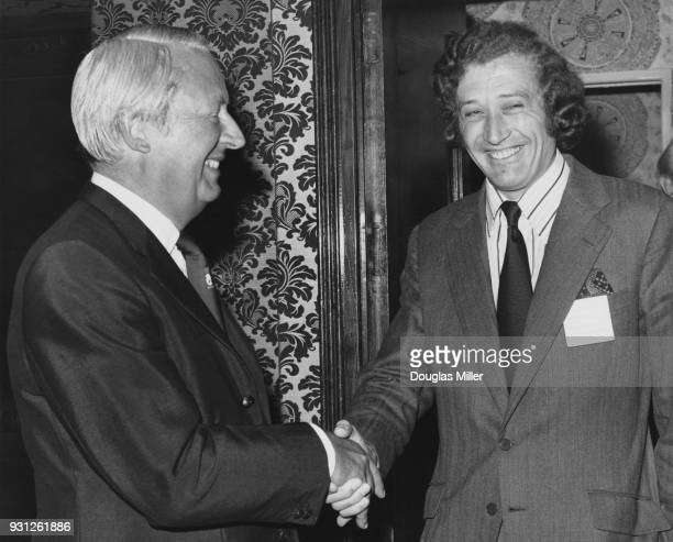 British Prime Minister Edward Heath meets Vivian Bendall the prospective Conservative parliamentary candidate for Hertford Stevenage and Ware at a...