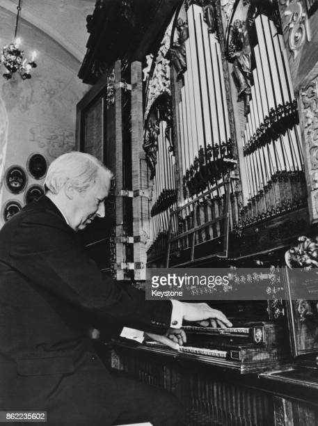 British Prime Minister Edward Heath plays the organ during a visit to Frederiksborg Castle in Hillerod, Denmark, 10th June 1972.