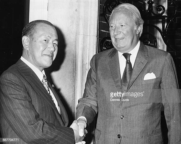 British Prime Minister Edward Heath shaking hands with his Japanese counterpart Kakuei Tanaka outside 10 Downing Street following a meeting, London,...
