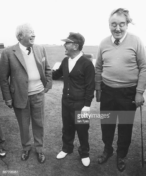 British Prime Minister Edward Heath sharing a joke with his Japanese counterpart Kakuei Tanaka and Secretary of Northern Ireland William Whitelaw...