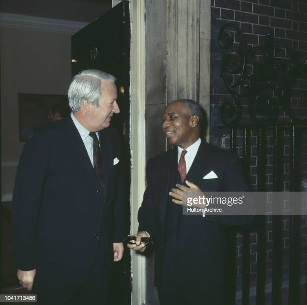 British Prime Minister Edward Heath with Dr Hastings Banda President of Malawi at 10 Downing Street in London 1972