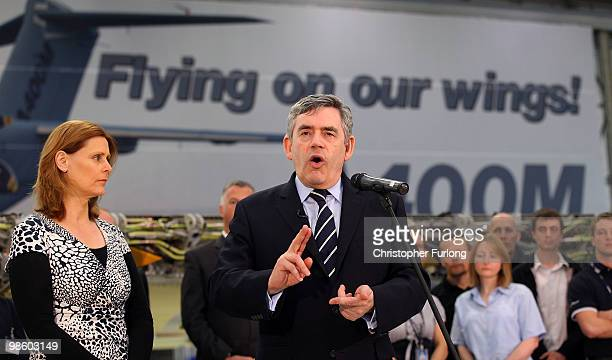 British Prime Minister Gordon Brown accompanied by his wife Sarah addresses apprentices at the Airbus assembly line at Filton during his election...