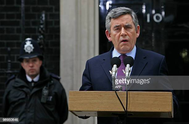 British Prime Minister Gordon Brown addresses the media outside of 10 Downing Street in central London on May 10 2010 Brown announced Monday he...