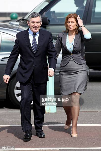 British Prime Minister Gordon Brown and his wife Sarah Brown take a stroll down Brighton sea front on April 16 2010 in London England The General...