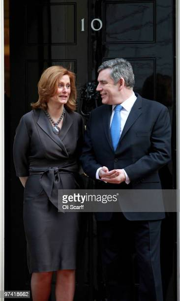 British Prime Minister Gordon Brown and his wife Sarah Brown wait outside Number 10 Downing Street for South African President Jacob Zuma and Thobeka...
