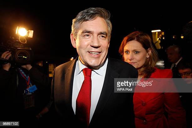 British Prime Minister Gordon Brown and his wife Sarah disembark from an airplane at Stansted airport as they return to Labour Party headquarters in...