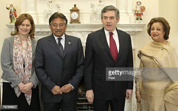 British Prime Minister Gordon Brown and his wife Sarah welcome Pakistan President Pervez Musharraf and his wife Sehba at 10 Downing Street on January...