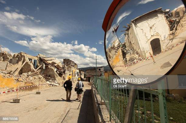 British Prime Minister Gordon Brown and Sarah Brown visited the earthquake-damaged town of Onna with Johanna Griffith-Jones at the end of the third...